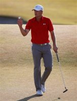 Jordan Spieth waves after the third round of the U.S. Open golf tournament at Chambers Bay on Saturday, June 20, 2015 in University Place, Wash. (AP Photo/Lenny Ignelzi)