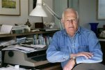 "FILE - This March 30, 2005, file photo shows author James Salter at his home in Bridgehampton, N.Y. The prize-winning author acclaimed for his sophisticated, granular prose and sobering insights in ""Light Years,"" ''A Sport and a Pastime"" and other fiction, has died at age 90. Salter's death was confirmed Friday, June 19, 2015, to The Associated Press by Alfred A. Knopf spokesman Paul Bogaards. (AP Photo/Ed Betz, File)"