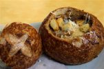 A Bistro French Onion Soup Bread Bowl is seen at a Panera bread restaurant, Tuesday, June 9, 2015, in New York. New York City could become the first city in the U.S. to require a warning label on high-sodium menu items at chain restaurants, health officials told The Associated Press on Tuesday. A Bistro French Onion Soup Bread Bowl contains more sodium than the recommended daily limit of 2,300 milligrams, which is equal to about 1 teaspoon of salt.  (AP Photo/Mary Altaffer)