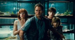 "This photo provided by Universal Pictures shows, Bryce Dallas Howard, from left, as Claire, Chris Pratt as Owen, Nick Robinson as Zach, and Ty Simpkins as Gray, in a scene from the film, ""Jurassic World,"" directed by Colin Trevorrow, in the next installment of Steven Spielberg's groundbreaking ""Jurassic Park"" series. (Universal Pictures/Amblin Entertainment via AP)"