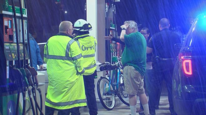 A man riding his bike was hit by a car in the intersection of Arlington and Evans.