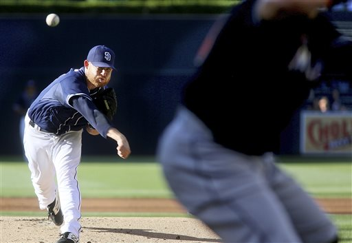 San Diego Padres starting pitcher Ian Kennedy throws to a Miami Marlins batter during the first inning of a baseball game Saturday, July 25, 2015, in San Diego. (AP Photo/Sandy Huffaker)