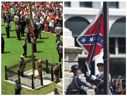 FILE - In this photo combination, the Confederate battle flag is raised in front of the South Carolina Statehouse in Columbia, S.C., on July 1, 2000, left, and the same flag is taken down on July 10, 2015, right, ending its presence on the Capitol grounds. The flag's removal seemed unthinkable before the June 17 massacre of nine black parishioners at a Charleston church during a Bible study. Dylann Roof, a white man who was photographed with the Confederate flag, is charged in the shooting deaths, and authorities have called the killings a hate crime. (AP Photo/Paula Illingworth, left, John Bazemore, right)
