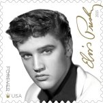 "This image released by the United States Postal Service shows the new Elvis Presley forever stamp available August 12. The USPS is also releasing an Elvis Presley greatest hits CD ""Forever Elvis"" to go along with the new commemorative stamp. (USPS via AP)"