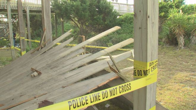 deck collapse caution tape