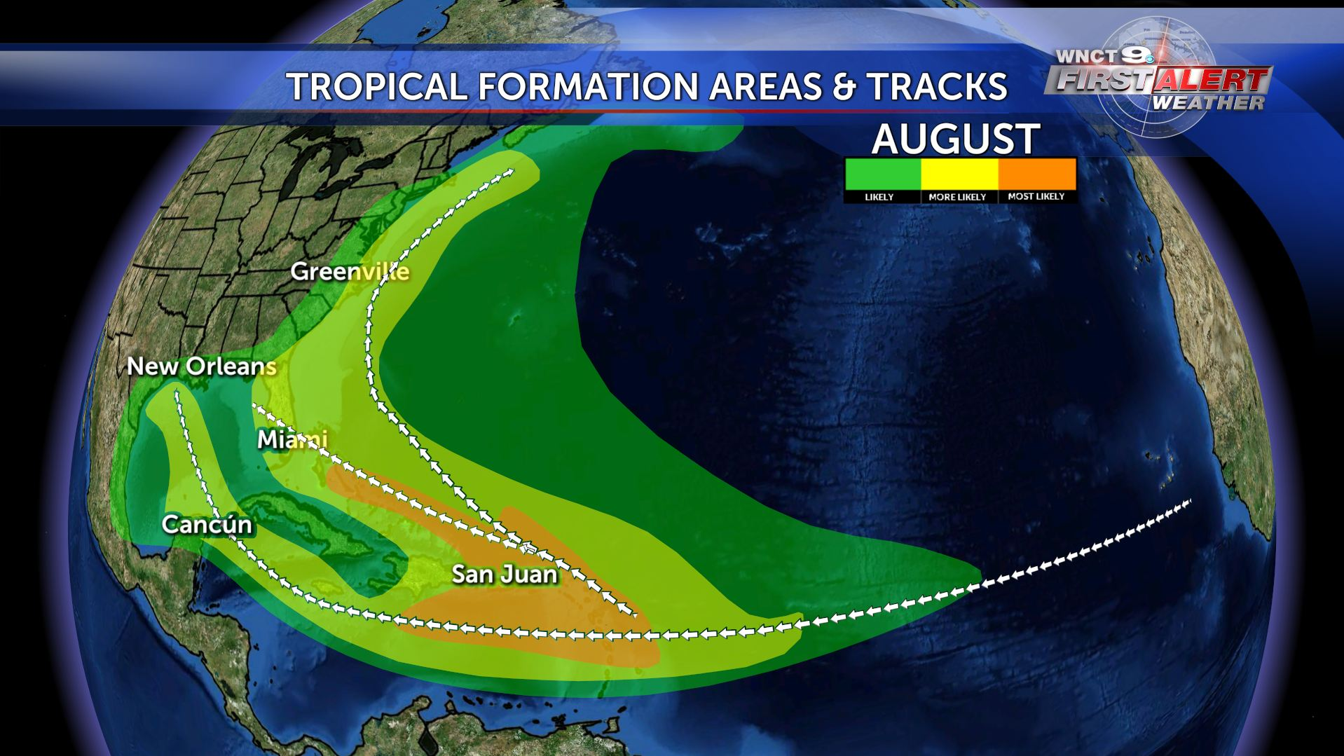 Quiet Hurricane Season August Tropical Formation Areas