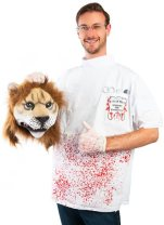This image released by Costumeish shows a man holding a fake lion head while dressed as a dentist, a costume referring to the Minnesota dentist who who killed Cecil the lion. The Halloween wars over pop culture costumes heated up early this time around. Petitions and social media outrage are flying over a blood-spattered dentist's smock paired with a Cecil-like lion head, along with a replica of Caitlyn Jenner's joyful lingerie outfit for her coming out on the cover of Vanity Fair. (Costumeish via AP)