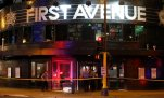 In this photo taken Wednesday night, Aug. 12, 2015, police tape blocks the entrance the landmark concert venue First Avenue in Minneapolis, after patrons were evacuated when part of the ceoling collapsed. Firefighters inspected the venue and found that an approximately 30-by-30-foot section of the ceiling had given way during a concert, Minneapolis Fire Department spokeswoman Cherie Penn said. Three people were injured, and two were taken to the Hennepin County Medical Center for further evaluation, Penn said. (Carlos Gonzalez/Star Tribune via AP)  MANDATORY CREDIT; ST. PAUL PIONEER PRESS OUT; MAGS OUT; TWIN CITIES LOCAL TELEVISION OUT