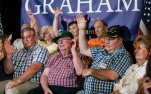 Attendees raise their hands when asked a question concerning Social Security during a town hall meeting with Republican presidential candidate Sen. Lindsey Graham, R-S.C., campaigning with Sen. John McCain, R- Ariz, in Manchester, N.H., Saturday, Aug. 1, 2015. (AP Photo/Cheryl Senter)