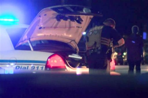 In this frame grab from video provided by WTOC-TV, authorities respond to a shooting at Savannah State University, late Thursday, Aug. 27, 2015, in Savannah, Ga. Authorities said a student was killed. (WTOC-TV via AP) MANDATORY CREDIT