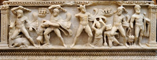 This undated image released by the office of the Geneva Public Prosecutor shows a section of a sarcophagus dating back to the Roman Empire that depicts the 12 labors of Hercules.  Geneva's public prosecutor's office says it has decided to hand over to Turkey the second-century marble coffin which was seized by Swiss customs officials in 2010. (Geneva Public Prosecutor/via AP)