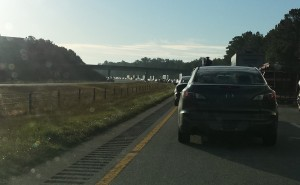 Photo shows traffic back up from Wednesday morning accident on US-264 in Greene Co.