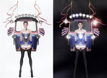 """This illustration released Wednesday, Oct. 7, 2015, by Miss Universe Thailand Organizer shows Miss Universe Thailand 2015 Aniporn Chalermburanawong wearing a dress that looks like a """"tuk-tuk,"""" a three-wheeled motorized taxi. The """"Tuk Tuk Thailand"""" dress will be worn by Aniporn in the costume round at the pageant in December in the United States. It was the winning design from 356 entries in a contest held by Miss Universe Thailand. (Miss Universe Thailand Organizer via AP)"""