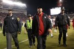 North Carolina State head coach Dave Doeren leaves the field after an NCAA college football game against Virginia Tech, Friday, Oct. 9, 2015, in Blacksburg, Va. Virginia Tech won 28-13. (Matt Gentry/The Roanoke Times via AP) LOCAL TELEVISION OUT; SALEM TIMES REGISTER OUT; FINCASTLE HERALD OUT;  CHRISTIANBURG NEWS MESSENGER OUT; RADFORD NEWS JOURNAL OUT; ROANOKE STAR SENTINEL OUT; MANDATORY CREDIT