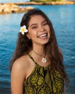 """This undated image released by Disney shows Auli'i Cravalho, 14, who will voice the title character in the animated film, """"Moana."""" The film opens in U.S. theaters on Nov. 23, 2016. (Hugh E. Gentry/Disney via AP)"""