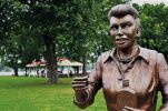 "FILE - In this Aug. 2012 photo, a bronze sculpture of Lucille Ball is displayed in Lucille Ball Memorial Park in the village of Celoron, N.Y. The statue that drew worldwide scorn earlier this year for its unflattering depiction of the ""I Love Lucy"" star will be placed at the Chautauqua Mall in neighboring Lakewood, N.Y., as part of the shopping center's annual haunted house event.  (AP Photo/The Post-Journal)  BUFFALO OUT"