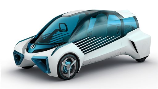 This computer rendering provided by Toyota Motor Corp. shows Toyota FCV Plus, a concept model that highlights Toyota's vision for its future fuel cell. The Tokyo Motor Show, opening to the public Oct. 30, 2015 at Tokyo Big Sight convention hall, will be packed with futuristic eye-catching vehicles that drive themselves, offer online information in dazzling ways and are so green they are zero-emissions.  (Toyota Motor Corporation via AP) NO SALES