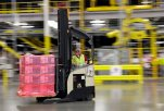FILE - In this Feb. 13, 2015 file photo, a forklift operator moves a pallet of goods at a Amazon.com fulfillment center in DuPont, Wash. The Commerce Department issues its August report on wholesale stockpiles on Friday, Oct. 9, 2015. (AP Photo/Ted S. Warren, File)