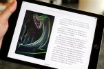 "Text and an illustration from ""Harry Potter and the Chamber of Secrets"" are displayed on an iPad, Wednesday, Sept. 30, 2015, in New York. The J.K. Rowling books are being released with animated or interactive illustrations, but only through Apple's iBooks Store and require the use of an Apple mobile device or a Mac computer. (AP Photo/Mark Lennihan)"