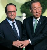 United Nations Secretary General Ban Ki-moon, right, and French President Francois Hollande arrive to welcome world leaders for the COP21, United Nations Climate Change Conference, in Le Bourget, outside Paris, Monday, Nov. 30, 2015. (AP Photo/Christophe Ena, Pool)
