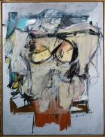 "This undated image provided by University of Arizona Museum of Art shows an oil canvas by artist Willem De Kooning, titled: ""Woman-Ochre,"" 1954-55, a Gift of Edward Joseph Gallagher, Jr."" The artwork was stolen 30 years ago from the University of Arizona Museum of Art in Tucson, Ariz. The museum is displaying the empty frame left behind by thieves in an effort to get new leads on the painting. (University of Arizona Museum of Art via AP)"