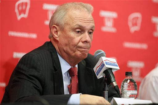 FILE - In this Dec. 15, 2015, file photo, Wisconsin men's basketball coach Bo Ryan announces his retirement during a news conference after Wisconsin defeated Texas A&M-Corpus Christi 64-49, in Madison, Wis. Wisconsin coach Bo Ryan said in June that this would be his last season, then left the door open in August. Instead, he surprised the basketball world by abruptly retiring on Dec. 15. (Amber Arnold/Wisconsin State Journal via AP, File)