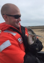 Petty Officer 2nd Class Dustin M. Messmer, a crew member from the U.S. Coast Guard Cutter Cushing, holds a sea turtle during rescue efforts Thursday, Jan. 7, 2016, along the Outer Banks. The Cushing crew assisted the rescue of 217 sea turtles on beaches along the Outer Banks of North Carolina and returned them to the sea. (U.S. Coast Guard photo by U.S. Coast Guard Cutter Cushing)