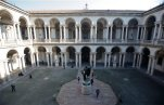 A view of the courtyard of Milan's Brera Art Gallery, in Milan, Italy, Thursday, Jan. 21, 2016. The new British-Canadian director James Bradburne of the Pinacoteca di Brera pledges to bring to completion a 50-year-old plan to create a new gallery across the street for contemporary art. Bradburne is among 20 new directors of Italy's top museums, including seven foreigners, hired last year by the Culture Ministry following an international bidding process. (AP Photo/Luca Bruno)