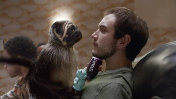"This image provided by Mountain Dew shows a ""Puppymonkeybaby"" in a scene from the company's Kickstart spot for Super Bowl 50. (Mountain Dew via AP)"