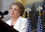 Former first lady Nancy Reagan speaks in the Capitol Rotunda in Washington, Wednesday, June 3, 2009, during a ceremony to unveil a statue of President Ronald Reagan. (AP Photo/Alex Brandon)