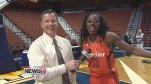 WTNH sports reporter John Pierson, left, smiles during his interview with Connecticut Sun forward Chiney Ogwumike. (WTNH)