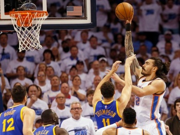 Oklahoma City Thunder center Steven Adams, right, has become a fan favorite during the 2016 NBA Playoffs. But one mini-look-alike may be even more popular -- Lil' Stache Bro. (AP Photo/Sue Ogrocki)