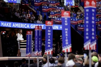 Melania Trump, wife of Republican Presidential Candidate Donald Trump, speaks during first day of the Republican National Convention in Cleveland, Monday, July 18, 2016. (AP Photo/Matt Rourke)
