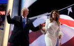 Republican presidential candidate Donald Trump gives his thumb up as he walks off the stage with his wife Melania during the Republican National Convention, Monday, July 18, 2016, in Cleveland. (AP Photo/John Locher)