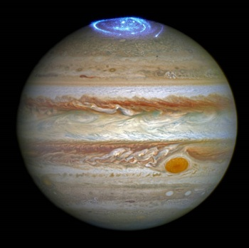 Astronomers are using NASA's Hubble Space Telescope to study auroras — stunning light shows in a planet's atmosphere — on the poles of the largest planet in the solar system, Jupiter. Credits: NASA, ESA, and J. Nichols (University of Leicester)
