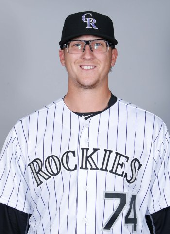 Feb 29, 2016; Scottsdale, AZ, USA; Colorado Rockies starting pitcher Jeff Hoffman (74) poses for photo day at Salt River Fields. Mandatory Credit: Rick Scuteri-USA TODAY Sports