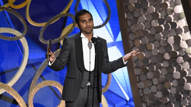 Aziz Ansari appears on stage at the 68th Primetime Emmy Awards on Sunday, Sept. 18, 2016, at the Microsoft Theater in Los Angeles. Ansari earned some laughs and some internet buzz after cracking jokes about Republican presidential nominee Donald Trump during the ceremony. (Chris Pizzello/Invision/AP)