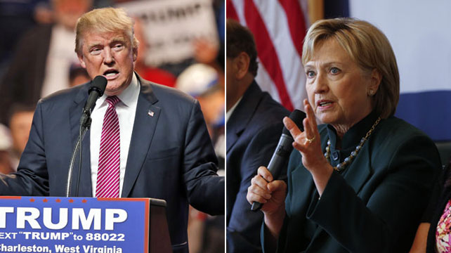 Republican presidential candidate Donald Trump and Democratic presidential candidate Hillary Clinton campaigning in West Virginia. (AP file)