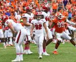 North Carolina State kicker Kyle Bambard (92) walks off of the field after missing a field goal late in the the second half of an NCAA college football game against Clemson, Saturday, Oct. 15, 2016, in Clemson, S.C. Clemson won 24-17 in overtime. (AP Photo/Richard Shiro)
