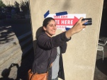 Early voter Mira snaps a selfie after casting her vote in Washington, DC.  (Photo: Chance Seales)