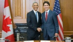 President Barack Obama shakes hands with Canadian Prime Minister Justin Trudeau before the start of their bilateral meeting at Parliament Hill, Wednesday, June 29, 2016 in Ottawa, Ontario. (AP Photo/Pablo Martinez Monsivais)