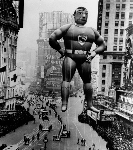 In this 1940 file photo, a helium-inflated Superman rises over the Times Square crowd to lead the Macy's Thanksgiving Day Parade in 1940. (AP file)