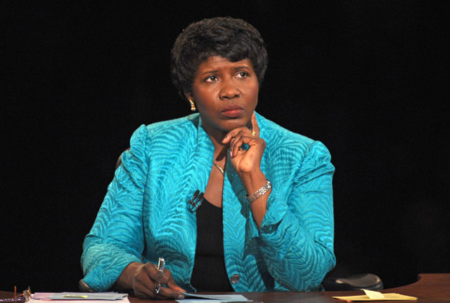 Vice presidential debate moderator Gwen Ifill of PBS listens during the vice presidential debate Thursday, Oct. 2, 2008 in St. Louis, Mo.  (AP Photo/Don Emmert, Pool)