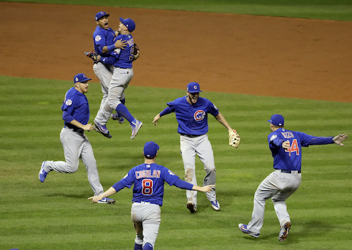 The Chicago Cubs celebrate after Game 7 of the Major League Baseball World Series against the Cleveland Indians Thursday, Nov. 3, 2016, in Cleveland. The Cubs won 8-7 in 10 innings to win the series 4-3.(AP Photo/Gene J. Puskar)