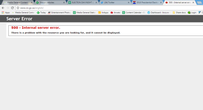 Canada immigration website crashes during US election.