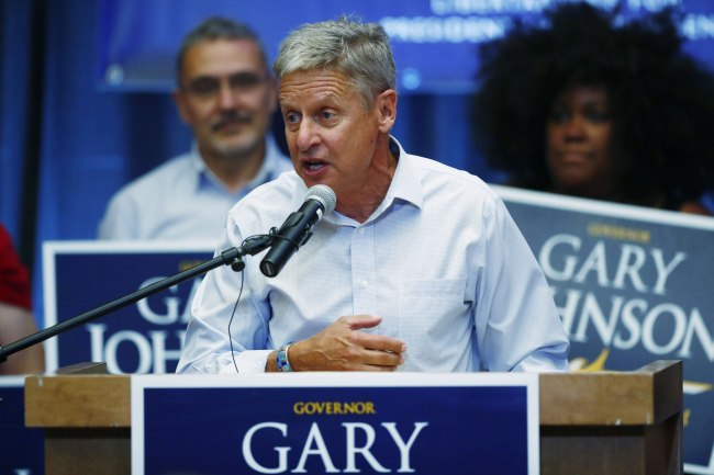 Libertarian presidential candidate Gary Johnson speaks during a rally late Monday, Oct. 3, 2016, in Parker, Colo. (AP Photo/David Zalubowski)