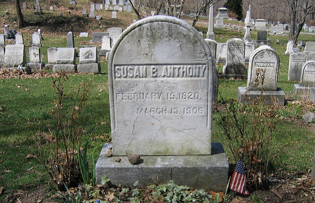 Susan B. Anthony's grave, shown in a 2005 file photo, sits inside Mt. Hope Cemetery in Rochester, New York. Anthony is being remembered this week for her work to fight for women's rights as we head toward a potentially historic election where Hillary Clinton could become the first female president of the United States. (Liz Lawley/Flickr Commons/CC BY-SA 2.0)