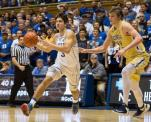 Duke's Grayson Allen (3) drives against Georgia Tech's Ben Lammers (44) during the first half of an NCAA college basketball game in Durham, N.C., Wednesday, Jan. 4, 2017. (AP Photo/Ben McKeown)