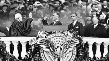 President Franklin D. Roosevelt takes the oath of office from Chief Justice Charles E. Hughes at his inauguration on March 4, 1933. Roosevelt was the last president to have his inauguration on March 4. The 20th Amendment of the U.S. Constitution, ratified Jan. 23, 1933, moved the inauguration date for the president from March 4 to January 20. (AP file)
