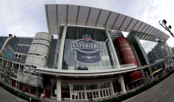 This Jan. 14, 2017 photo shows The George R. Brown Convention Center, which will host the NFL Experience in Houston. Super Bowl LI will be played Feb. 5 at NRG Stadium in Houston. (AP Photo/David J. Phillip)